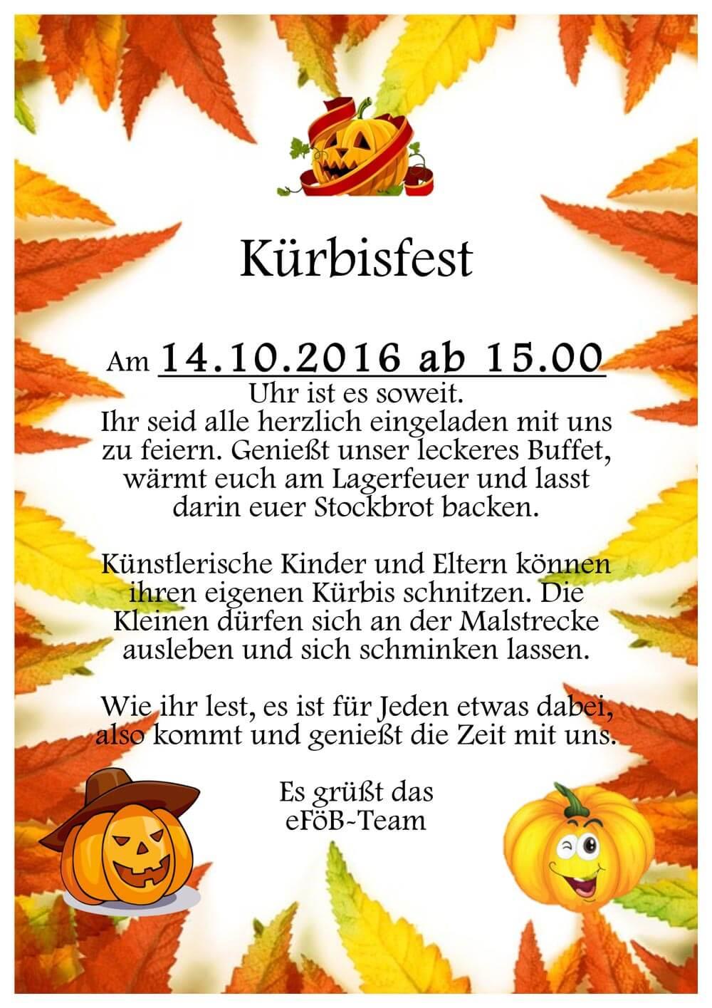 Kürbisfest und Herbstferien