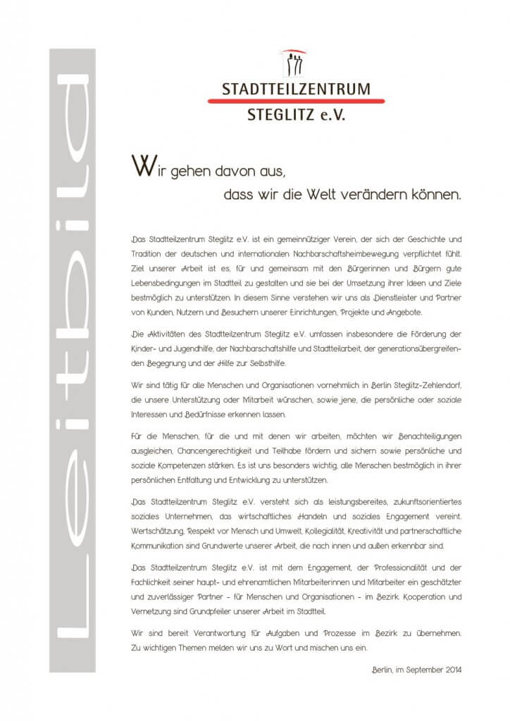 Leitbild Stadtteilzentrum Steglitz e.V.