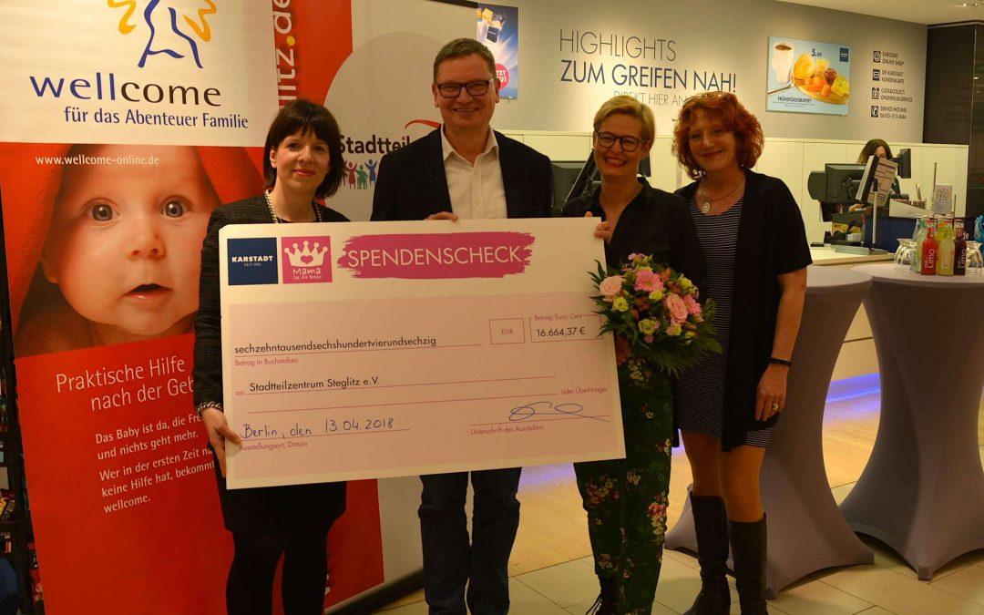 """Karstadt spendet 16.664,37 Euro für Steglitz-Zehlendorfer """"Mütter-Projekt"""""""